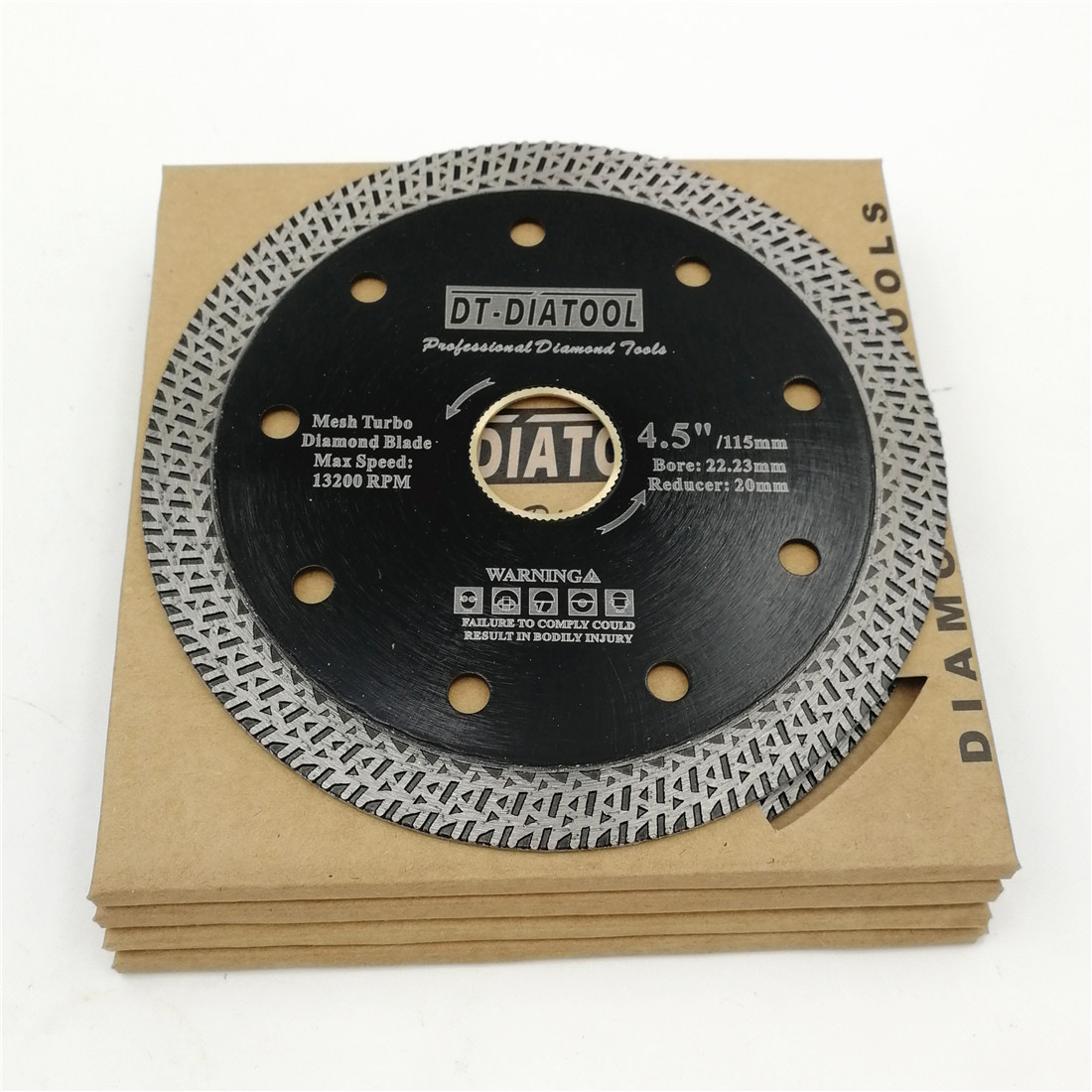 DT-DIATOOL 5pks/set  4 or 5inch Hot pressed Disc Diamond Cutting Wheel Mesh Turbo Saw blade Diameter 115mm 125mm Hard materials 2pk diamond double row grinding cup wheel for granite and hard material diameter 4 5 115mm bore 22 23mm with 16mm washer