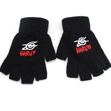 NEW Anime Naruto Konoha symbol students half finger Cashmere plush knit gloves winter warm Mitten Free shipping