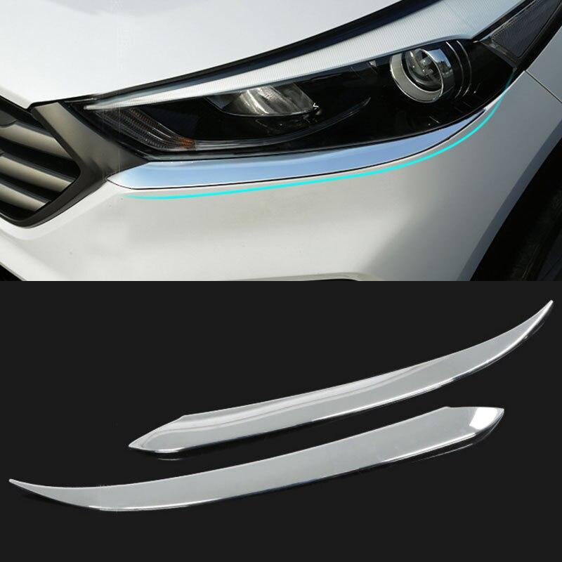 Carmilla 2X Araba Ön Işıklar Spor Zihin ABS Krom Dekorasyon Şerit - Araba Parçaları - Fotoğraf 2