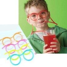 Забавная мягкая пластиковая соломинка, очки, Уникальная гибкая трубка для питья, одноразовая пипетка, аксессуары для детской вечеринки