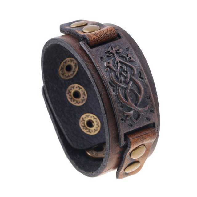 2017 New Arrival Coffee Uni Genuine Leather Cuff Bracelet Retro Wide For Women Men