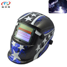 Tig Welding Blue Star Sticker Helmet Auto Darkening Full Face Shield Mig Welding Equipment Electric Mask TRQ-HD31-2200DE(China)