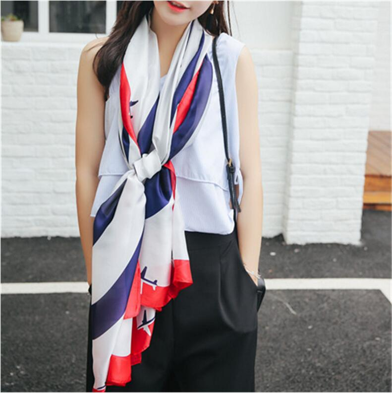 2017 new Scarves Women Shawls New Fashion Long Blue and White Airplane Pure Silk Scarves Shawls girl