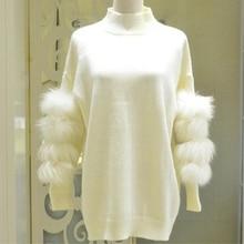Women Oversized Fur Sweater Winter Truien Dames Fluffy Sweater Tunic Turtleneck Pull Femme Manche Longue 2017 Fashion Outwear