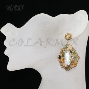 Image 2 - 5 pairs mix pedra brincos de cristal dourado balançar brincos brincos de gota natural arco íris cristal acessórios para mulher 8035