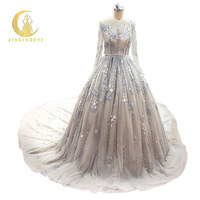 JIALINZEYI Real Pictures Long Sleeves Grey Beads With Lace Chapel Train Luxurious Evening Dresses