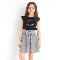 新しいファッション子供スーツtwinset印刷スカートヨーロッパ風子夏子供女の子服衣装セットt-シャツ+ドレ