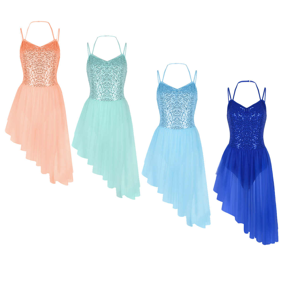 Женские Балетные платья на тонких бретельках, с бретельками, с блестками, нерегулярные тюлевые балетные и гимнастические трико, женские трико