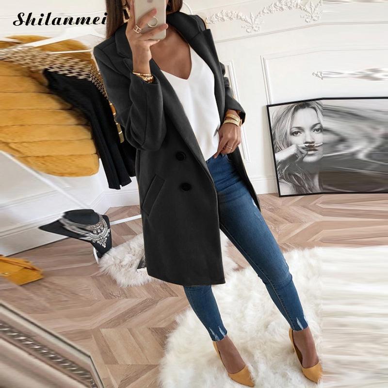18 New Women Long Sleeve Turn-Down Collar Outwear Jacket Wool Blend Coat Casual Autumn Winter Elegant Overcoat Loose Plus Size 6
