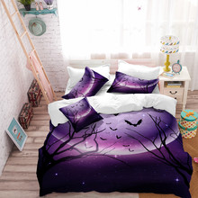 Purple Night Bedding Set Halloween Witch Horror Tomb Print Duvet Cover Bed Sheet Pillow Case Twin Full King Queen Bedclothes D20