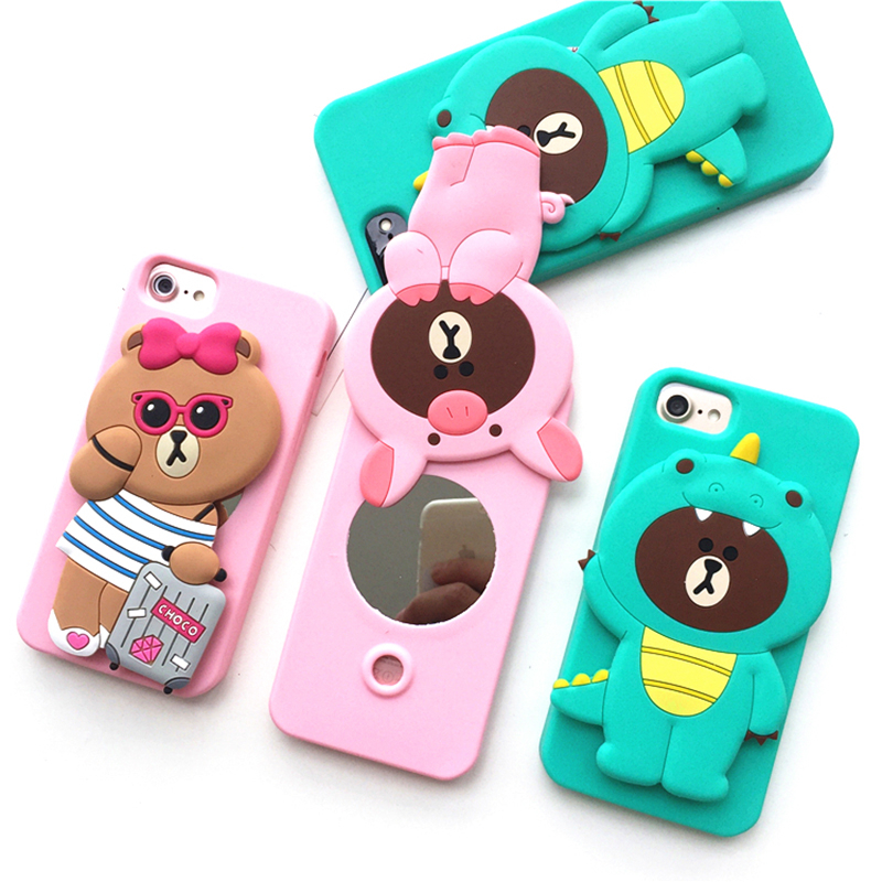 POEME CREATION Cute 3D Cartoon Fashion Silicone Mirror Phone Case Cover for iPhone X 6 6S 7 8 Plus