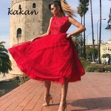 Kakan new women's chiffon dress sexy round neck sleeveless backless dress red stitching gauze dress red round neck mini dress
