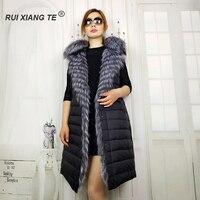 Rui Xiang Te free shipping Real fox fur vest fox fur coats women natural fox fur gilet female long vest geniune fox fur