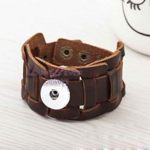 Original 016 hand woven Genuine Leather Retro fashion Bracelet Snap Button Jewelry Charm Jewelry For Women men Teenagers