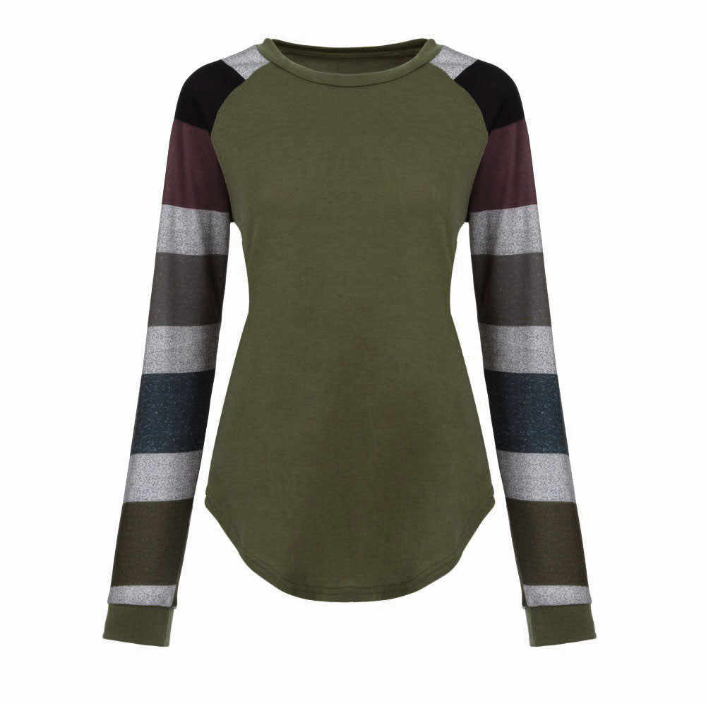 f9003c8d ... Fashion Women Striped Splicing Tshirt 2019 Baseball Spring Autumn O  Neck Long Sleeve Tees All Matched ...