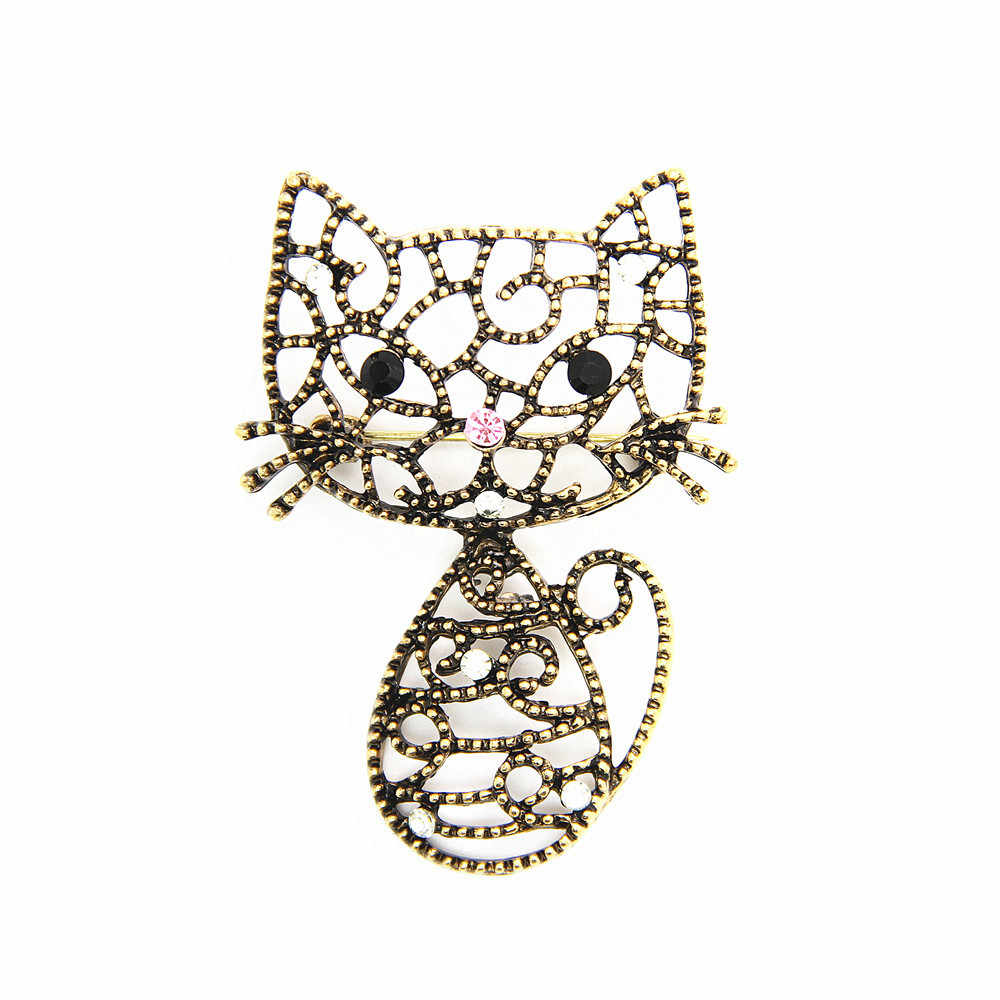 ユニセックスヴィンテージラインストーン中空素敵な猫クリスタルブローチ2017ウェディングスタイリングジュエリーピンブローチ