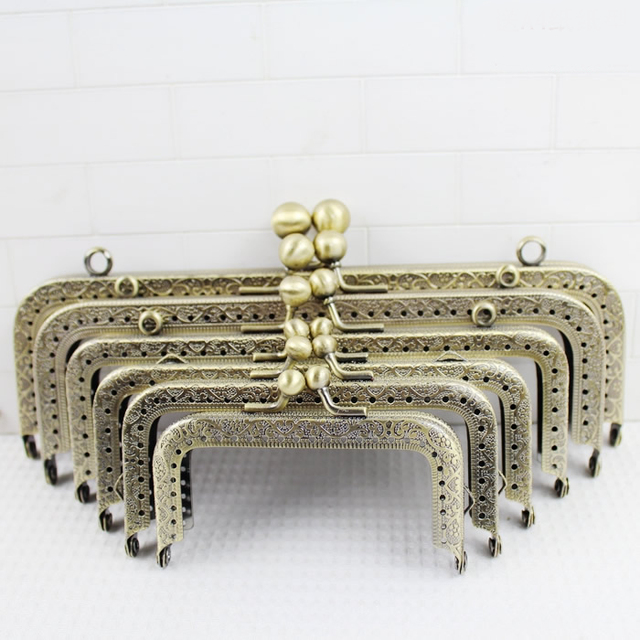 3 Piece Many Sizes Antique Brass Sewing Purse Frame With Hook Metal- Accessories-For eb66d52df243