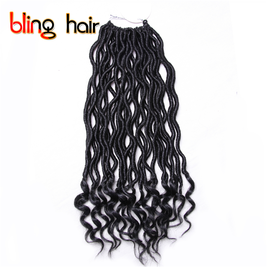 6Pcs/Lot 14 inch Goddess Locs Curly End Crochet Hair Weave Twist Braiding Kanekalon Hair Soft Synthetic Hair 55g 24 Roots