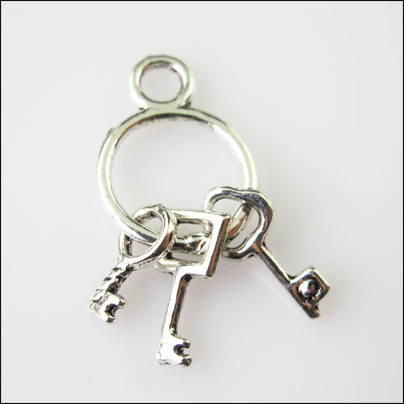 New 12Pcs Tibetan Silver Color Tiny 3-Keys Charms Pendants 12.5x27mm(China)