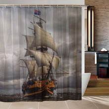 Pirate Ship Shower Curtain Polyester Fabric Waterproof Bathroom Products Cortinas Para Rideau De Douche