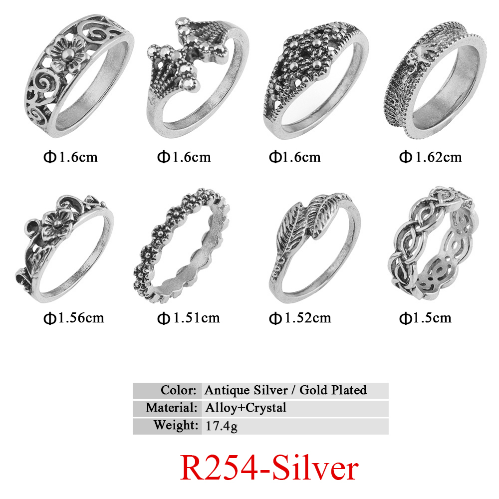 HTB1i8qMQVXXXXbuXpXXq6xXFXXXk 11-Pieces Boho Chic Spirituality Silver Plated Antique Stackable Ring Set - 9 Sets