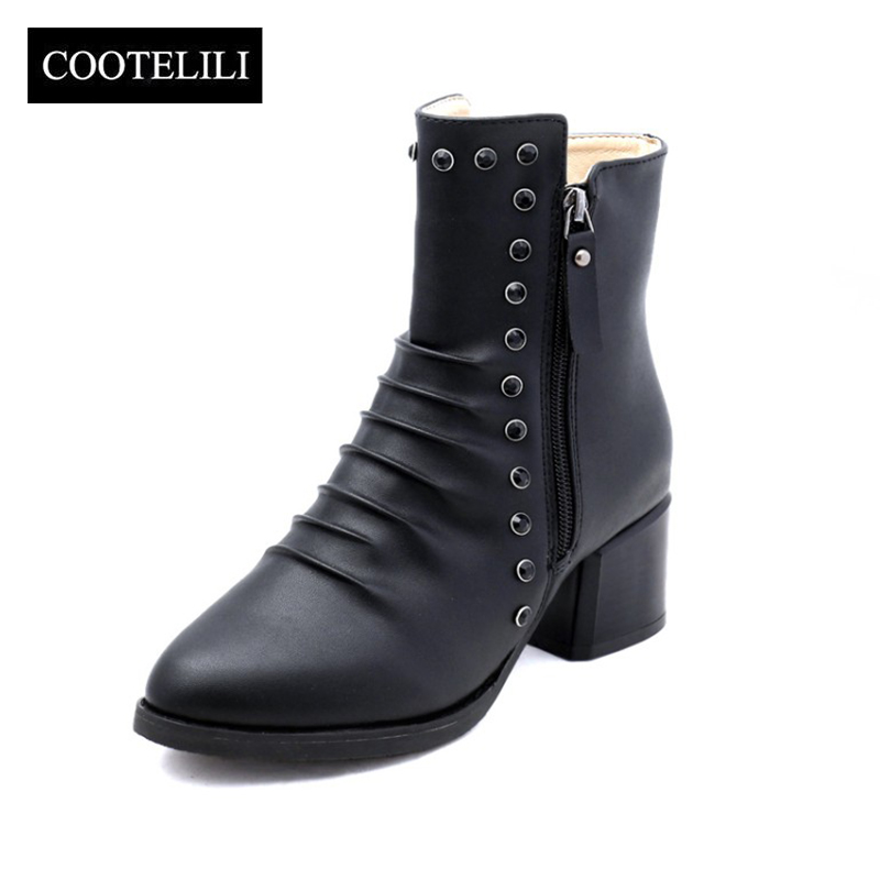 COOTELILI Rubber Boots Shoes Diamond High-Heels Woman 35-39 Pumps Ankle Winter Round-Toe