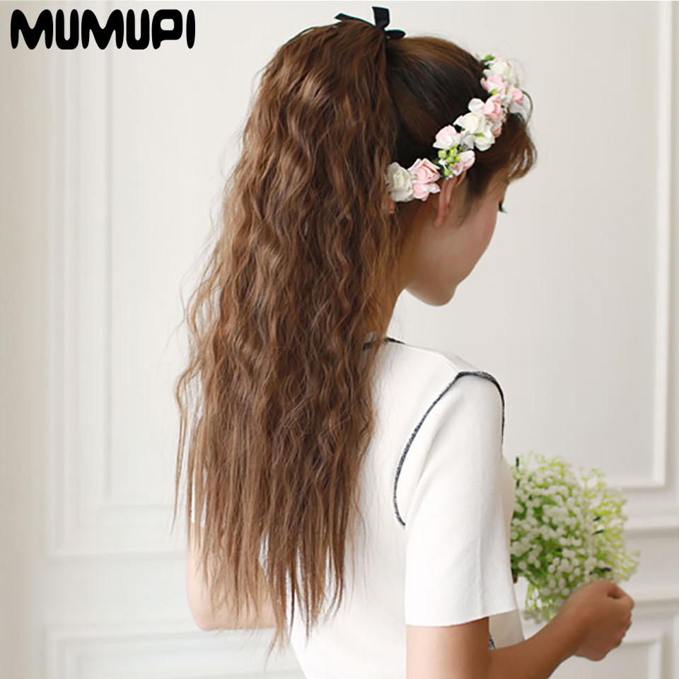 Women's Hair Accessories Humor Mumupi 22 High Temperature Fiber Synthetic Black Curly Ponytail Wig Strap Ponytail Hair Extension Headwear