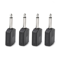 4PCS Single Male to Female 6.35mm Y Splitter Stereo Jack Headphone Connector Connectors