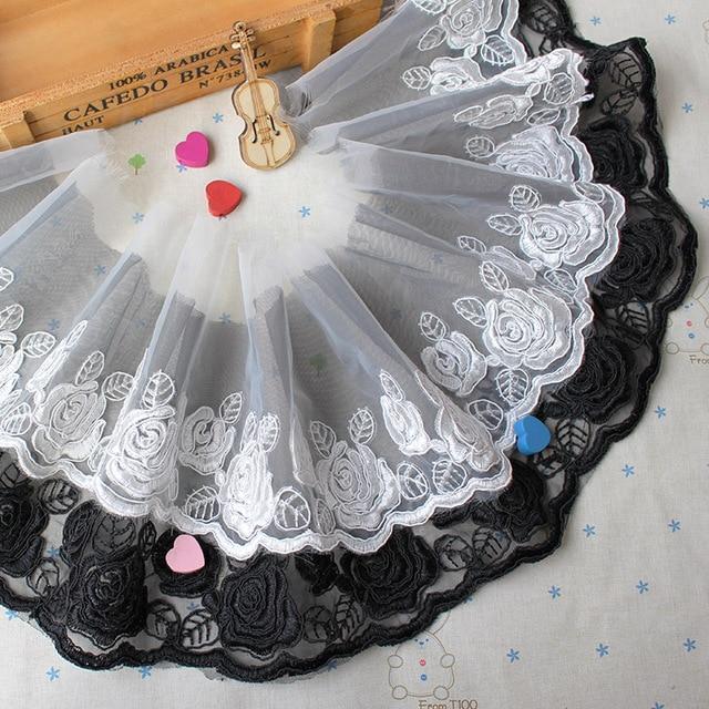 5 metros   lot noir élégant Rose os dentelle robe de mariée en Guipure  dentelle tissu 9462b4411c58