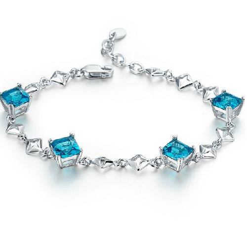 Real Qi Xuan_Free Mail Blue Stone Elegant Bracelets_S925 Solid Silver Fashion Blue Bracelets_Manufacturer Directly Sales