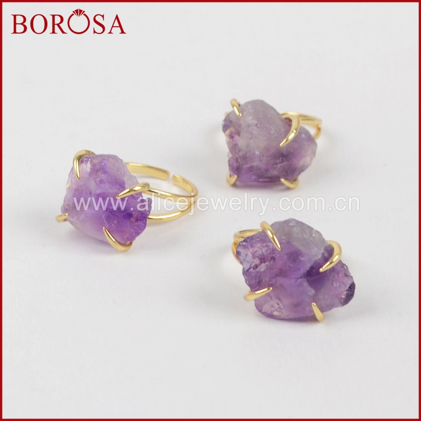 BOROSA Gold Color Rough Amethysts Druzy <font><b>Ring</b></font> Claw Setting <font><b>Ring</b></font> High Quality Druzy <font><b>Crystal</b></font> Stone Gems <font><b>Ring</b></font> ZG0133 image