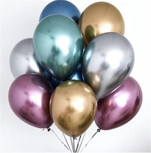 100pcs Metallic Balloon 12inch Latex Metal Chrome Air Helium Colorful Blue Green Purple Balloons for Party Decorations