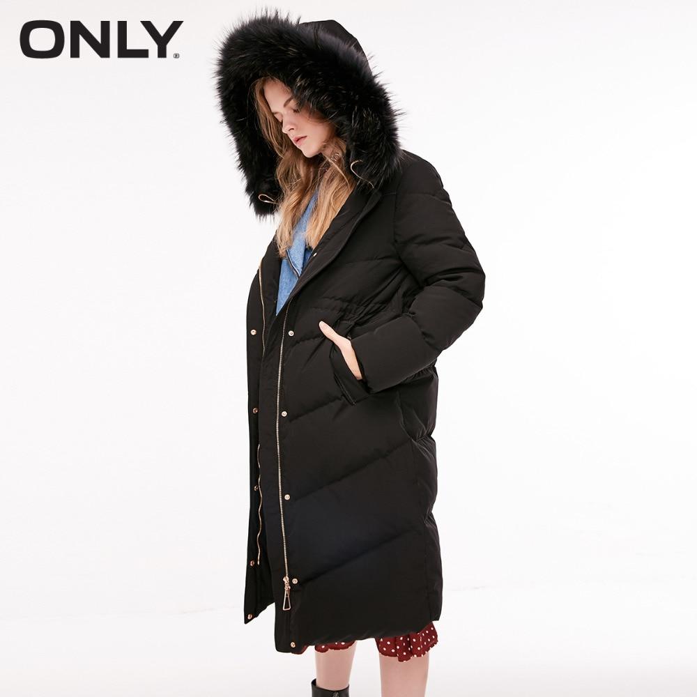 ONLY  Women's Brushed Overknee Fur Collar Long Down Jacket |118412517