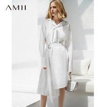 f7f8ac02e57 Amii Для женщин минималистский 2018 осеннее платье Шик Офисные женские туфли  линия пояса стильный падения женские платья