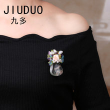 JIUDUO Enamel Flower Brooches Water Droplets Pendant Unique Clothing For Women