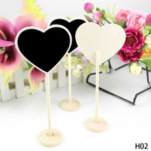 1Pc Wedding supplies heart shape decor ornaments Chalkboard Blackboard wooden seats card Place holder Table Number Gifts(China)