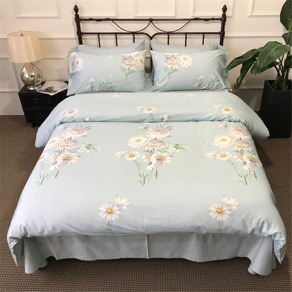 Vintage Botanical Flower Print Bedding Cotton Sateen ...