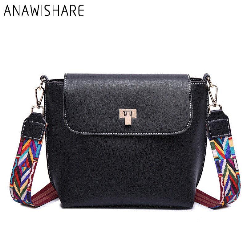 ANAWISHARE Women Messenger Bag Wide Strap Flap Crossbody Bags For Girls Shoulder Bags Female Handbags Bolsa Feminina Bolsos Muje