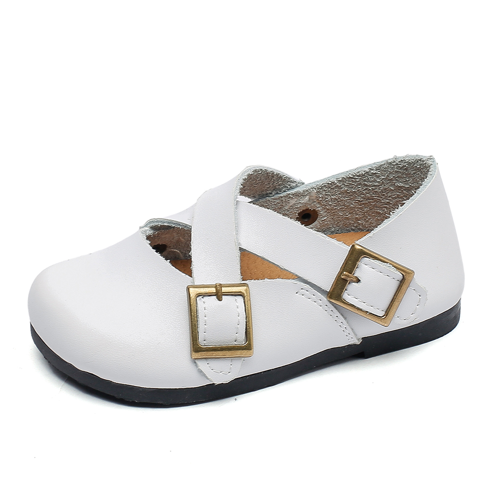little girls leather shoes soft baby kids white mary jane with crossed straps for wedding christenning cute princess zapatos