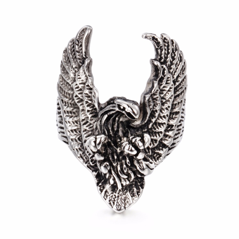 Fashion Vintage Eagle Ring Men 316L Titanium Stainless Steel Chic Charm Punk Fashion Jewellry Accessories Men Ring Wedding Bands