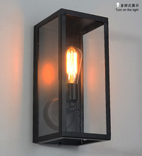 loft iron glass box wall lamp E27 bulb creative industrial aisle dinign room cafe shop decoration lighting fixtrues A147