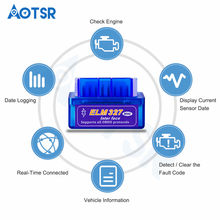 Interface Bluetooth OBD Elm 2-327 OBDII Auto Ferramenta de Diagnóstico Scanner ELM 327 Funciona EM Android Torque/PC 2.1 v adaptador BT(China)