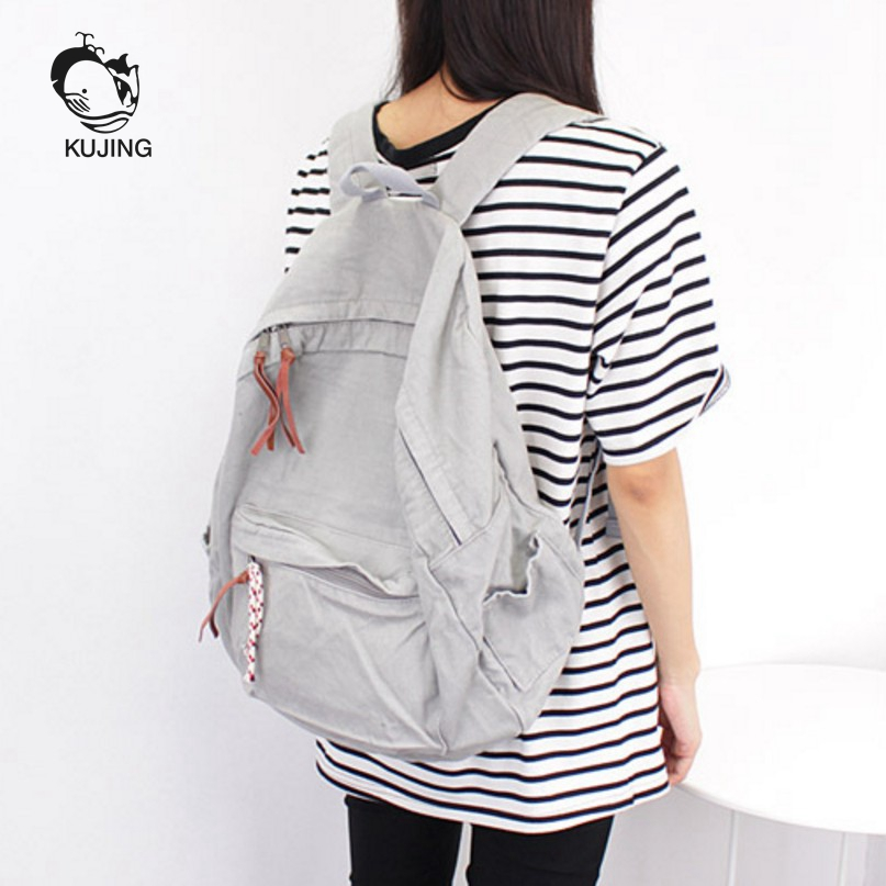 KUJING Women Backpack Hot High end Canvas Student Backpack Cheap Art Youth Travel Casual Backpack Large
