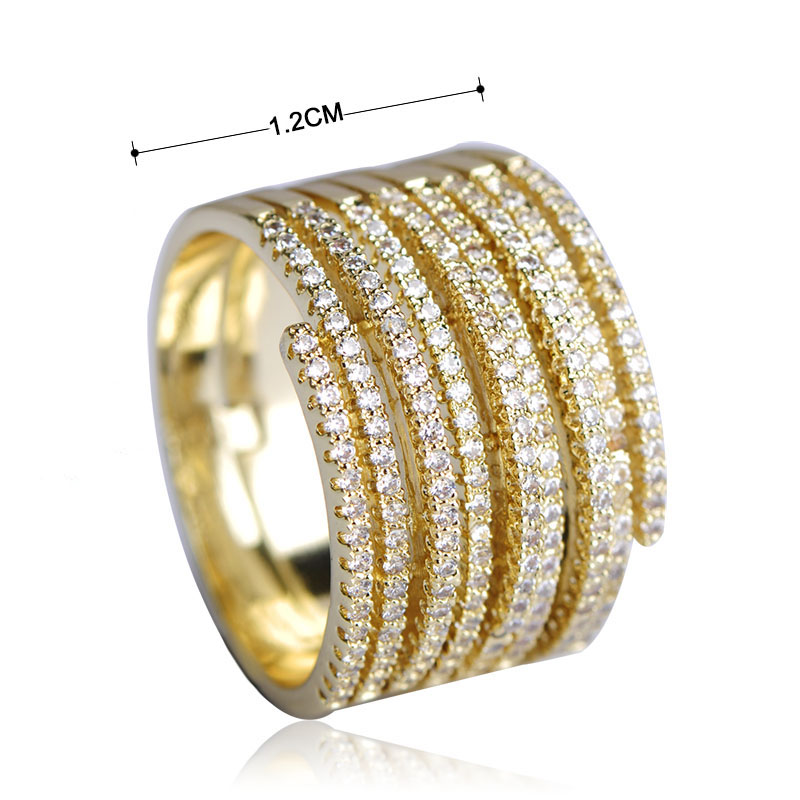 Madrry Luxury Cubic Zirconia Rings For Women Large Round Men Ring Gold Color Aneis Trendy Copper Anillos Mujer Fashion Jewelry
