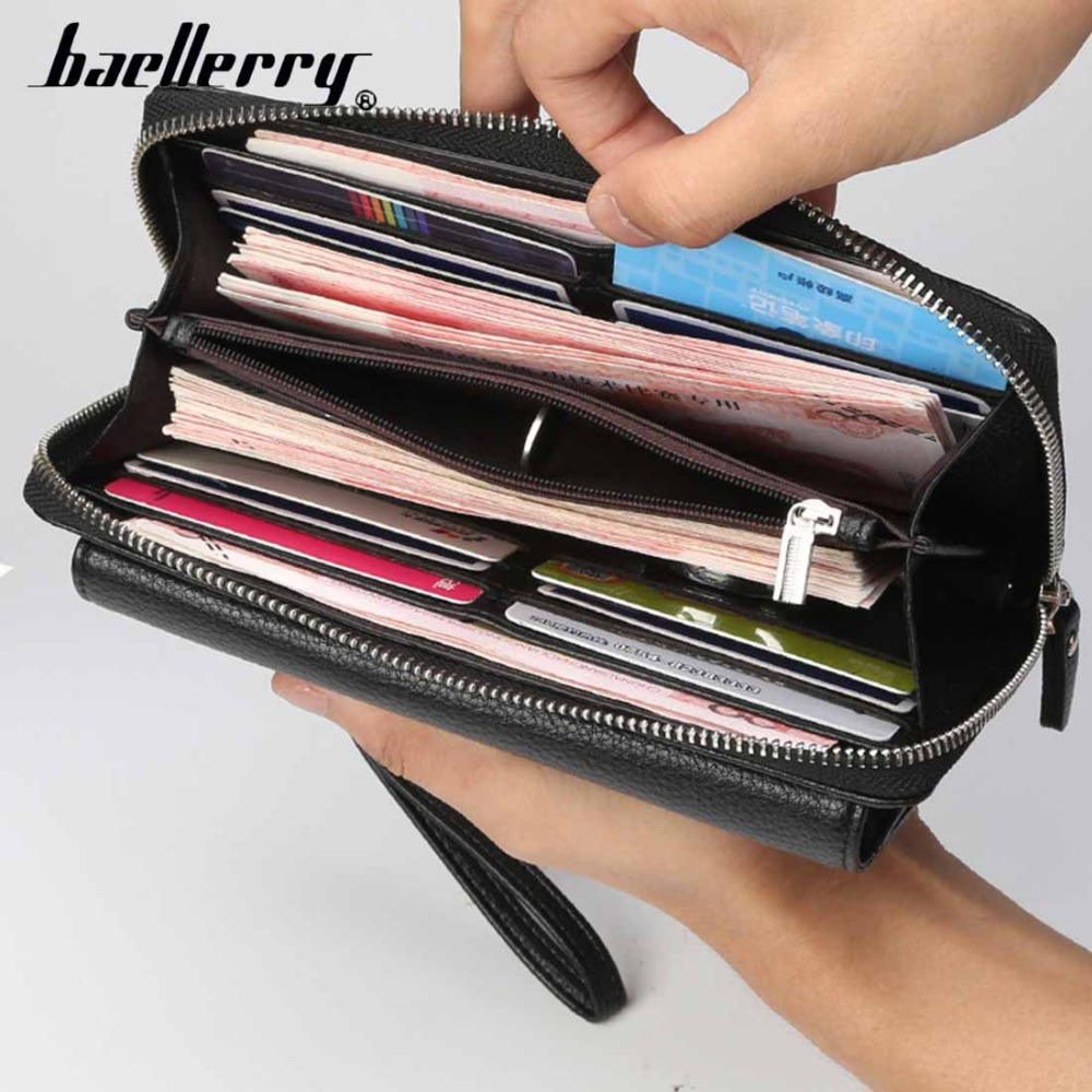 2019 Baellerry Men Wallets Large Capacity Long Top Quality Business Wallet PU Leather Phone Pocket Card Holder Male Wallet in Wallets from Luggage Bags