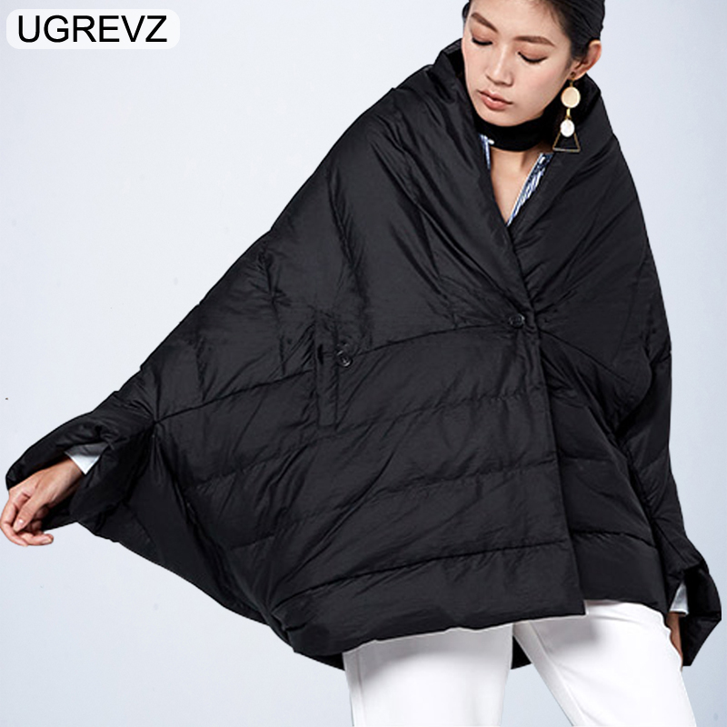 Winter Jacket Women Loose Parka Fashion Batwing Sleeve Female Down Cotton Coat 2019 New Overcoat Black White Autumn Short Jacket in Parkas from Women 39 s Clothing