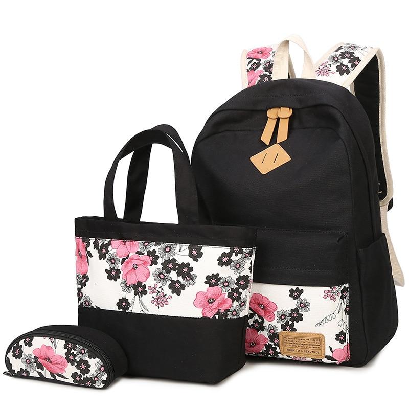 56f1b63df36e Women Canvas High-capacity Laptop Backpack Printing Flower School Bags  Pretty Backpacks For Girls Mochila Feminina 3 PCS Set