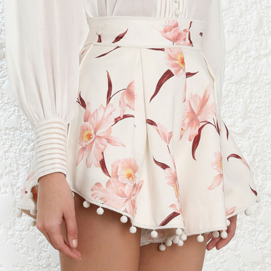 2019 New Arrival Fashion   Shorts   Women Flower Printed High Waist Women   Shorts   Holiday and Vocation   Shorts   Sexy Pink   Shorts