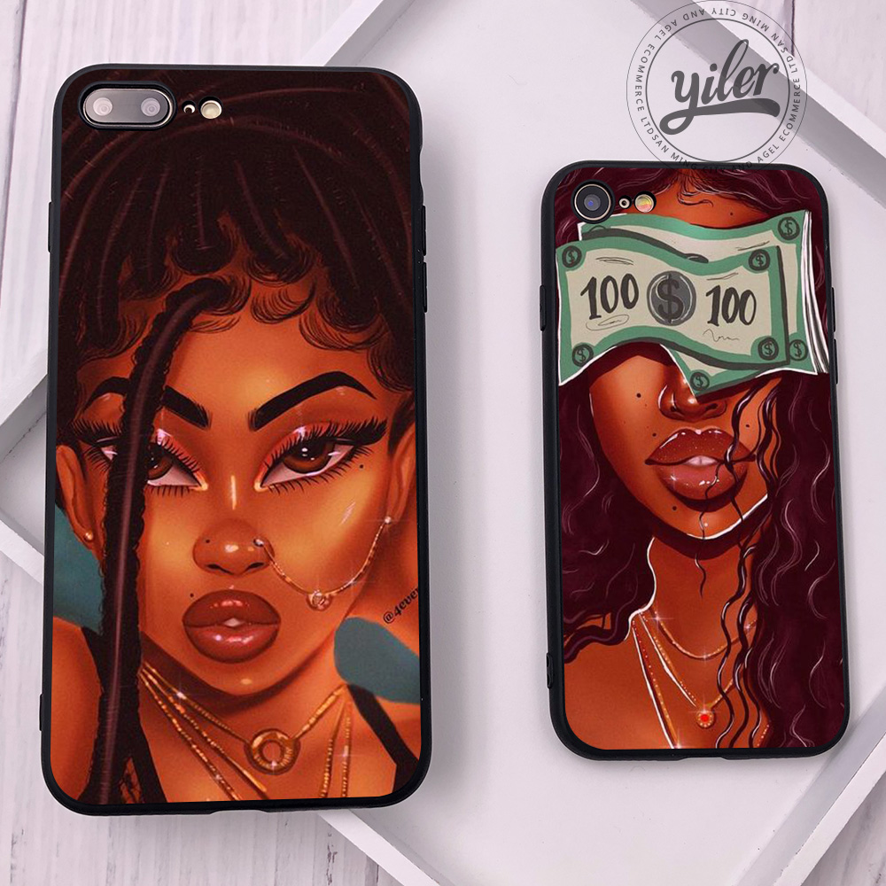 Fashion Black Girls For Case IPhone 11 Pro XS Max Phone Cover Shell For Cases IPhone XS XR 6 7 8 Plus Case For IPhone 5 5S SE 6S
