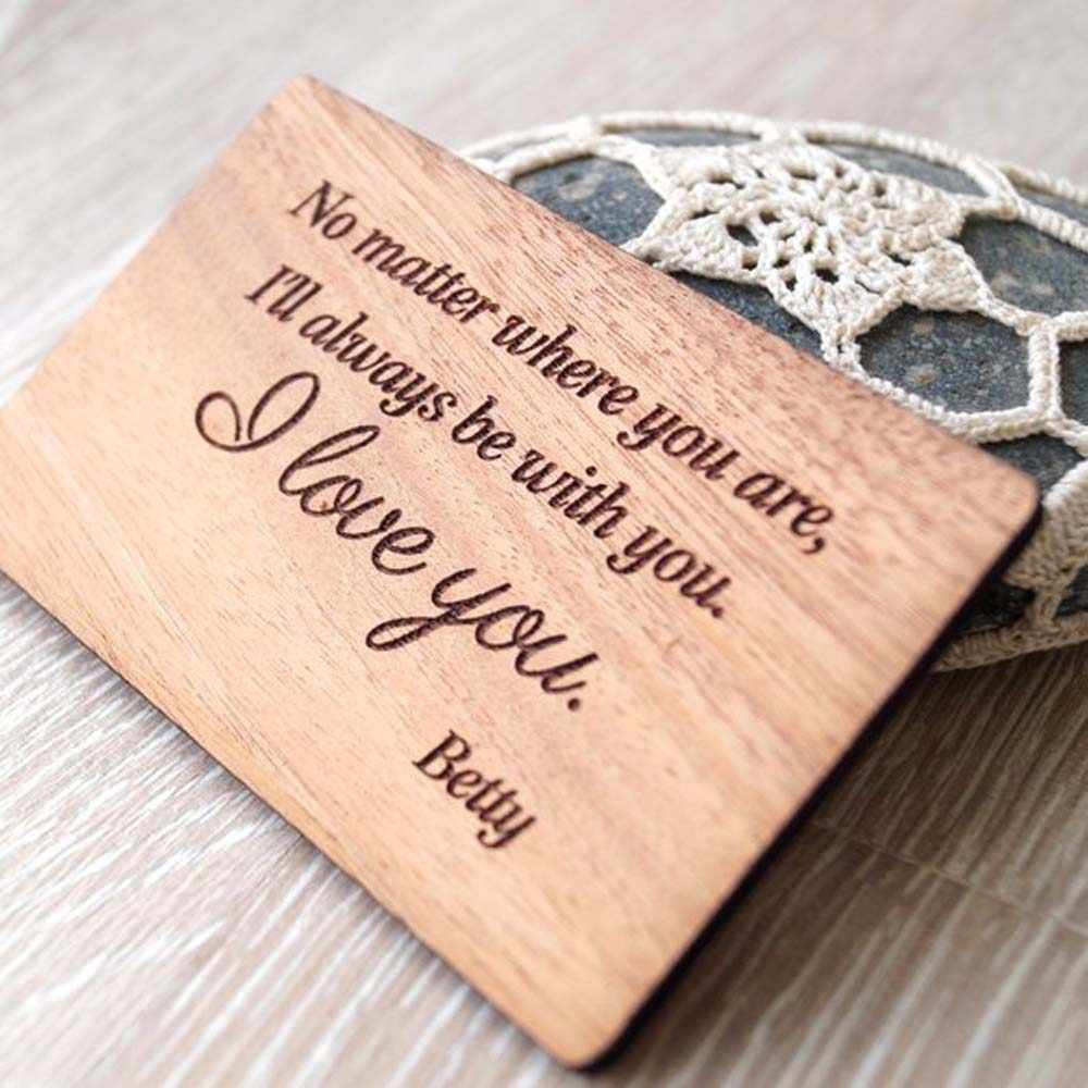 Personalized 5th wedding anniversary gift idea, wood wallet insert card, Custom wallet card,
